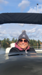 Sherry on boat at cottage